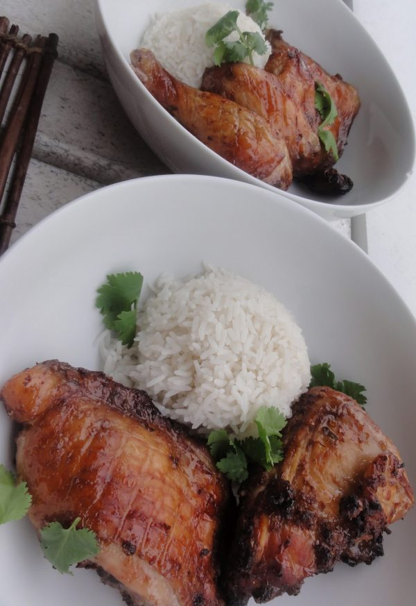 Oven baked Asian style chicken with garlic and ginger and white rice for two