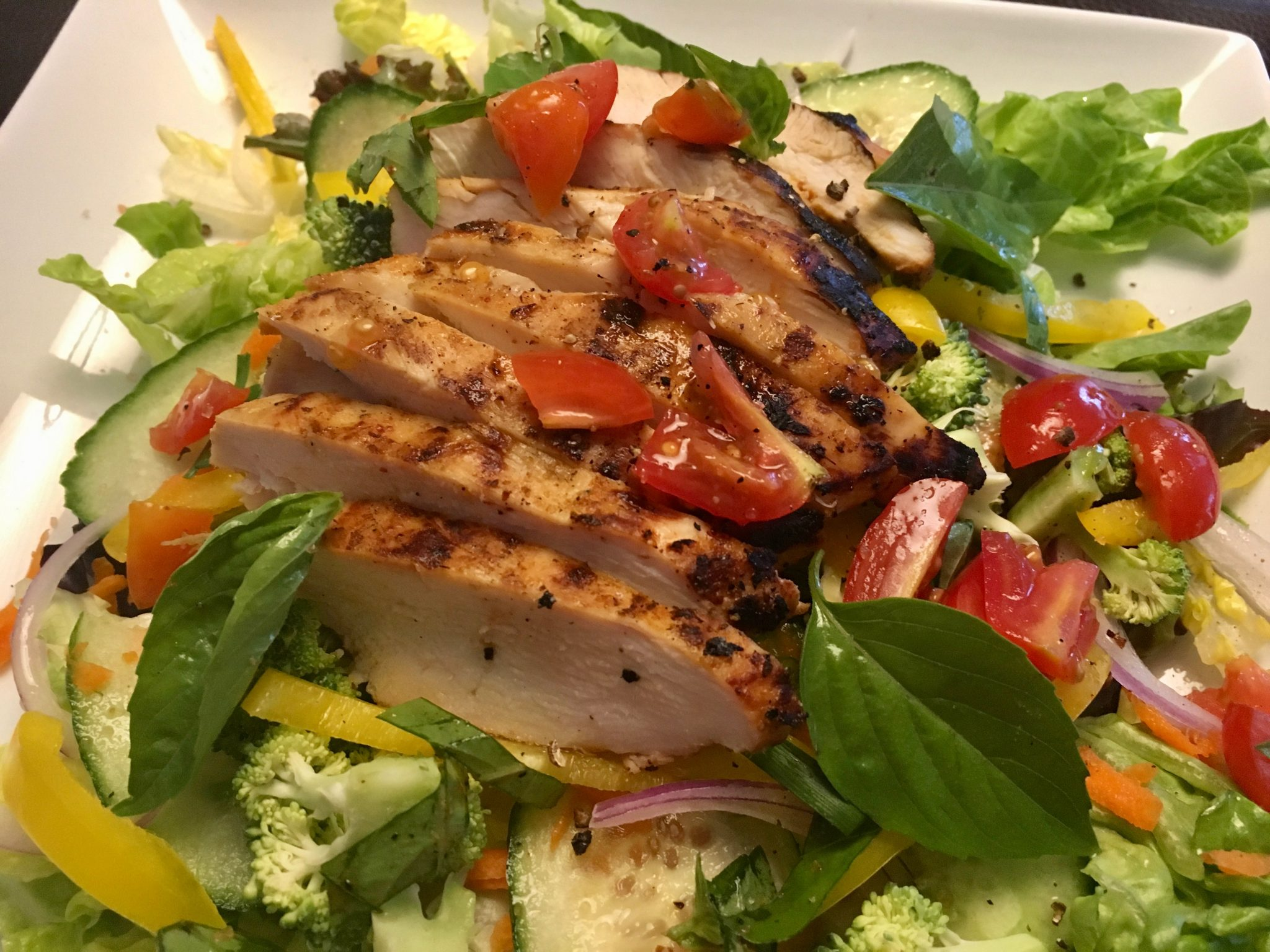 Thai red curry grilled chicken salad