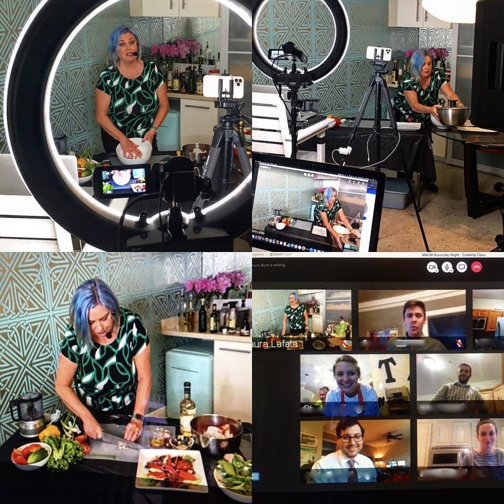 la diva conducting virtual corporate cooking class for law interns