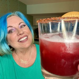 Diva with hibiscus margarita
