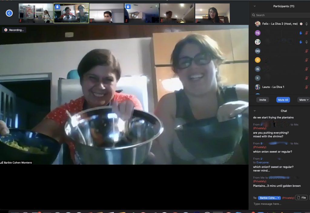 Attendees show off their dishes at a virtual class