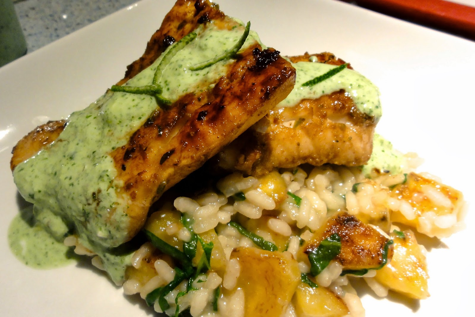 The Perfect Bite: Sweet Plantain Coconut Risotto and Spicy Jerk Cod ...